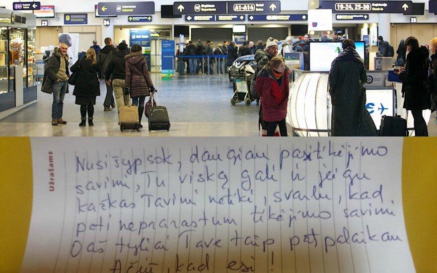 Keleivę maloniai nustebino pamatytas raštelis Vilniaus oro uosto tualete