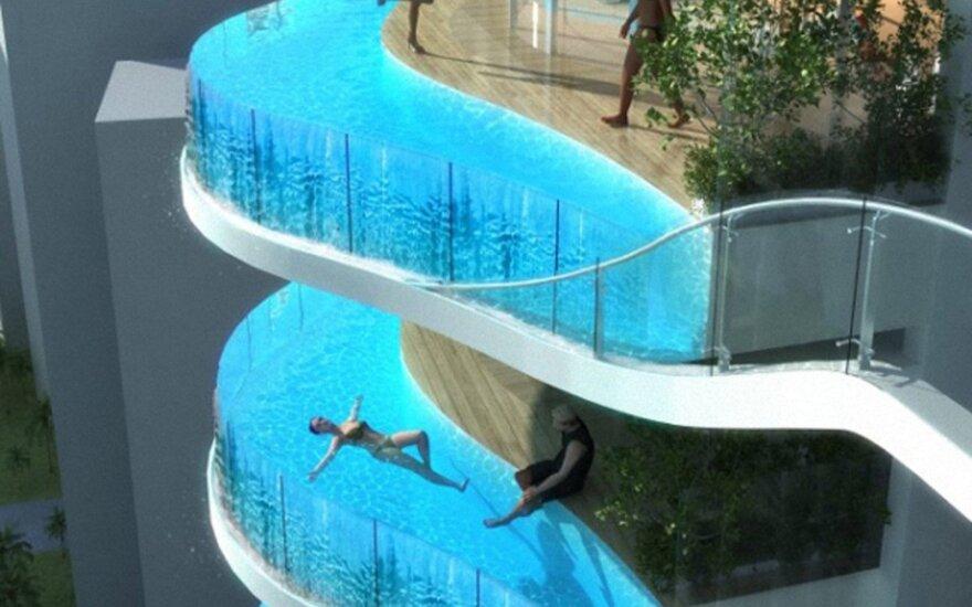 Rado originalų sprendimą: vietoj balkono - baseinas