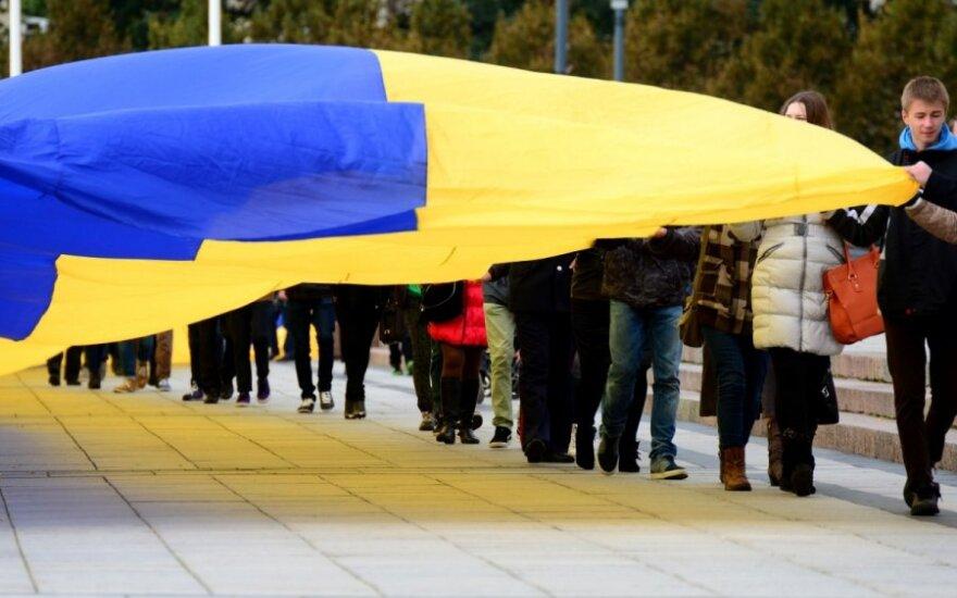 Ukrainos palaikymo akcija Vilniuje gedulo nepaisė