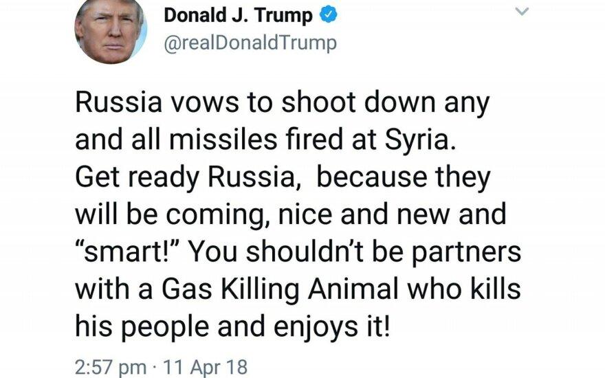 """Donaldo Trumpo """"Twitter"""" įrašas"""