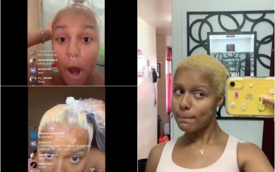 plaukų tiesinimo procedūrą demonstravusi paauglė liko visiškai plika