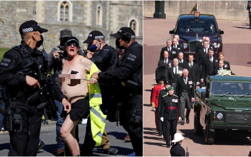 Princo Philipo laidotuvių ceremonijoje – pusnuogė protestuotoja