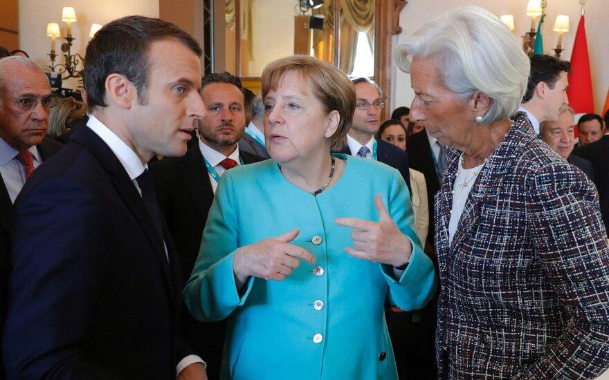 Emmanuelis Macronas, Angela Merkel, ir Christine Lagarde