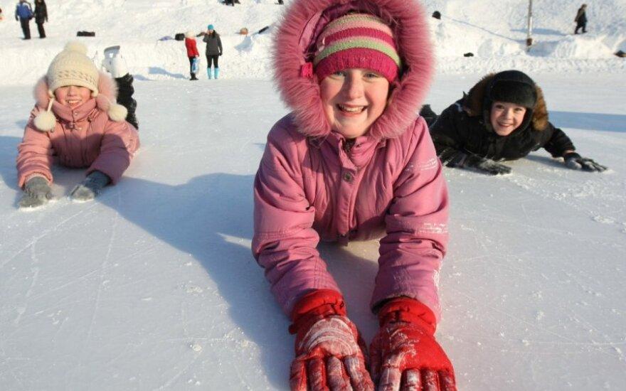vaikai, žiema, sniegas, žaidimas