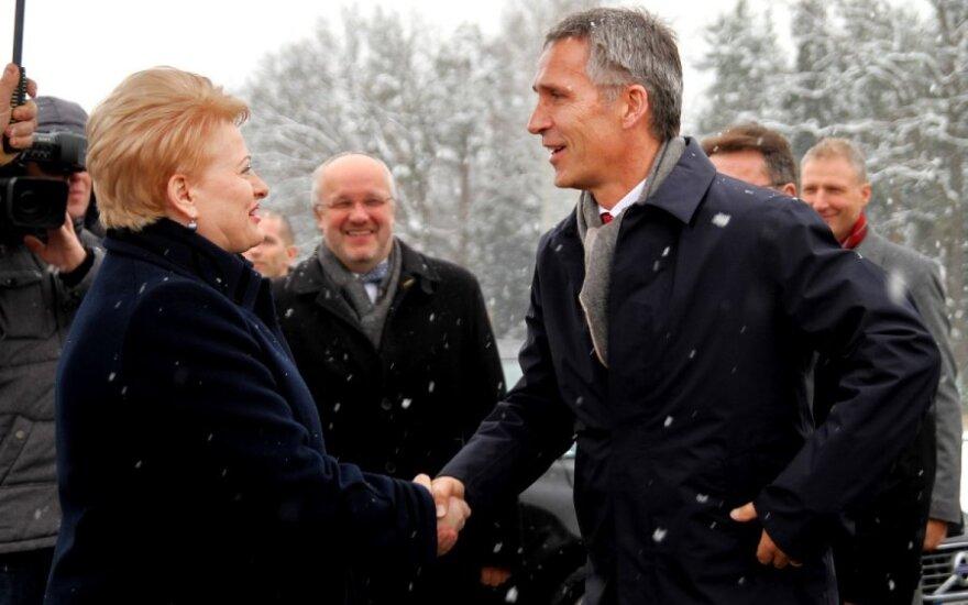 Dalia Grybauskaitė and Jens Stoltenberg in Kamėlava, Lithuania