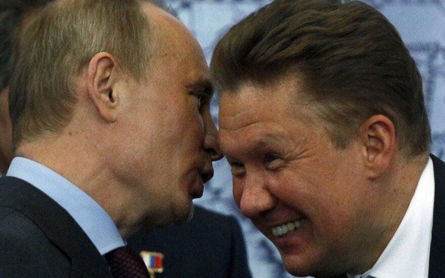"""Rusijos prezidentas Vladimiras Putinas ir """"Gazprom"""" vadovas Aleksejus Mileris"""
