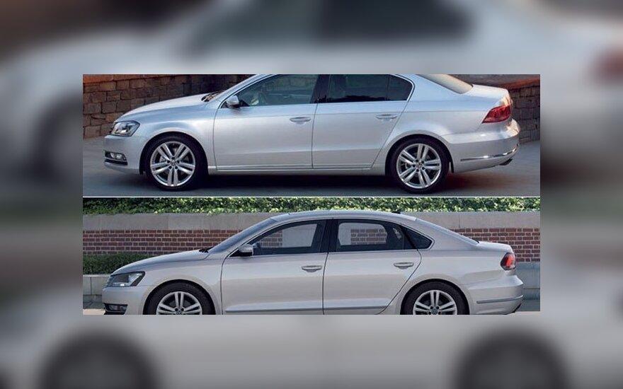 """JAV (viršuje) ir Europos rinkoms skirtas """"Volkswagen Passat"""""""
