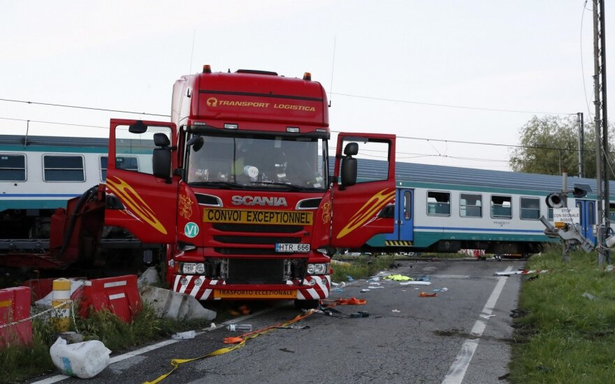 Lithuanian firm blames level crossing signals for truck collision with train in Italy