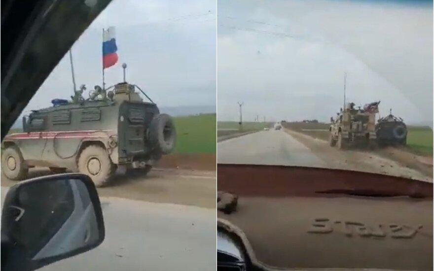 Nufilmuota: Rusijos ir JAV pajėgos aiškinasi santykius Sirijoje