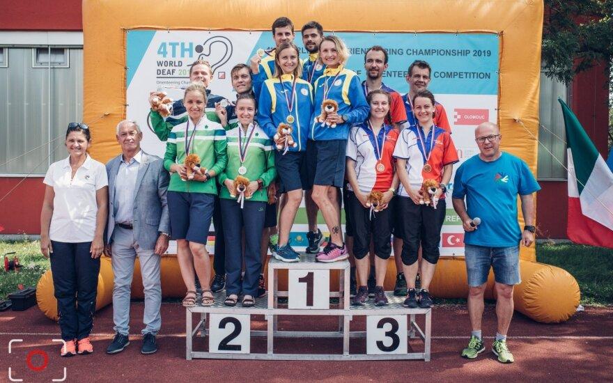 Lietuvos orientacininkams - pasaulio kurčiųjų čempionato sidabras (Čekijos OS federacijos nuotr.)