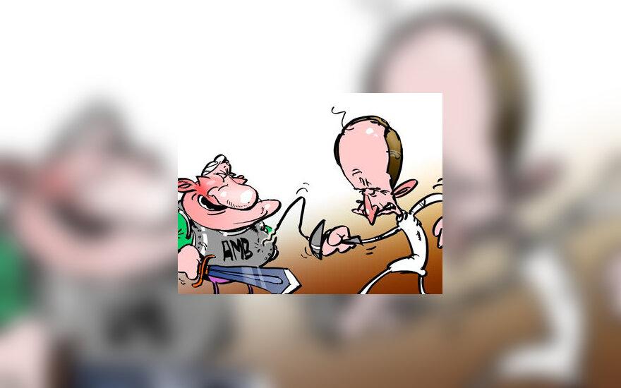 A.Brazauskas ir A.Kubilius - karikatūra