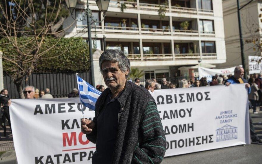 Graikijos salų gyventojai Atėnuose surengė protestą prieš naujas migrantų stovyklas