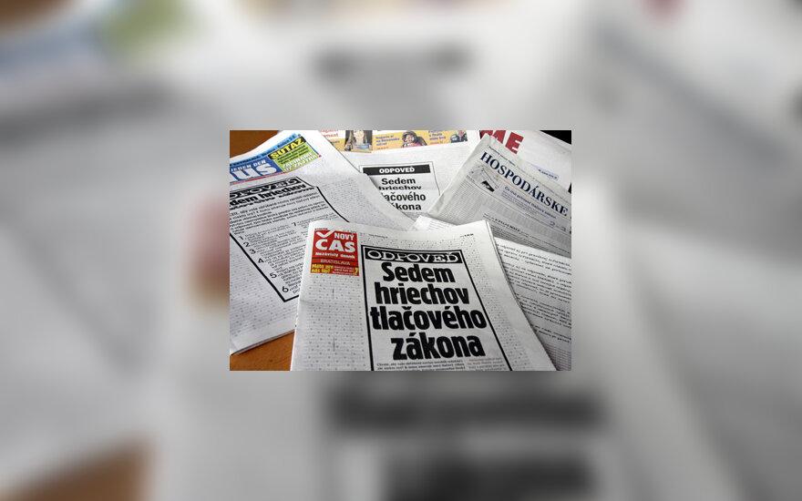 Slovakijoje laikraščiai išspausdinti tuščiu pirmuoju puslapiu