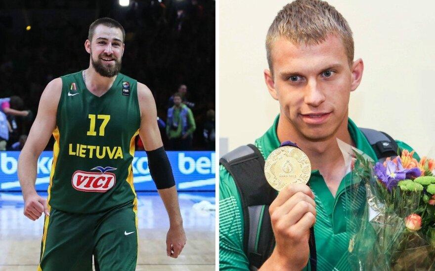 Jonas Valančiūnas (kairėje) ir Henrikas Žustautas