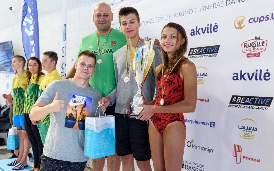 Nugalėtojų Grigalionių šeima / Foto: klaipedosbaseinas.lt