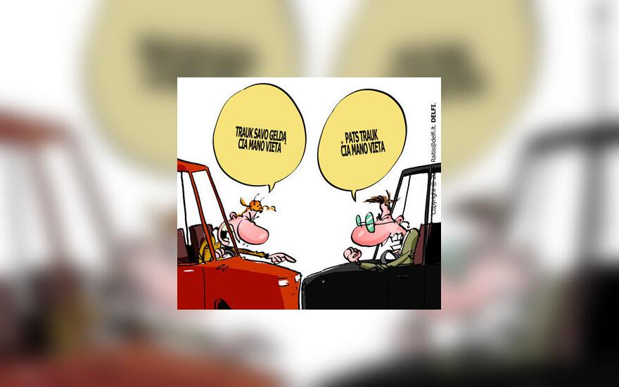Mašinų parkavimas, automobiliai - karikatūra
