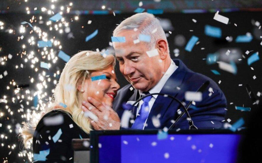 Benjaminas Netanyahu su žmona Sara