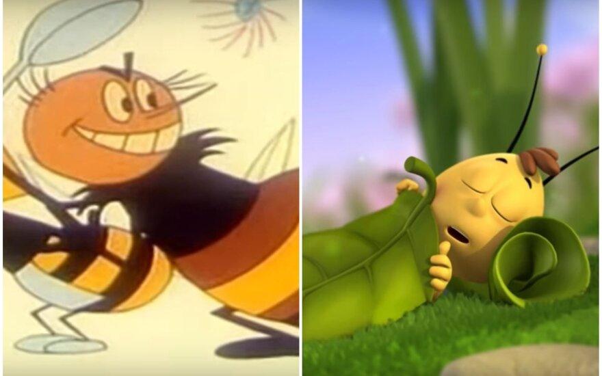 """Kadras iš Sovietų Sąjungos animacinio filmo """"Bitutė žu žu žu"""" (kairėje); kadras iš Vokietijos, Prancūzijos animacinio serialo """"Maya the Bee"""" (dešinėje)"""