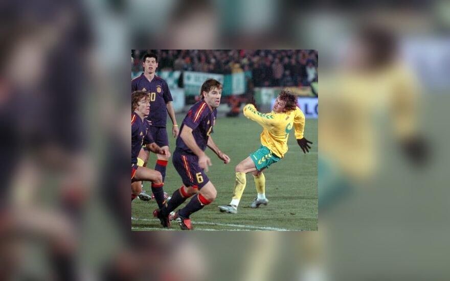 Lietuva - Ispanija, futbolo varžybų akimirka