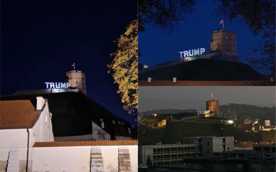 Ant Gedimino kalno surengta palaikymo akcija JAV prezidentui Donaldui Trumpui sulaukė policijos dėmesio