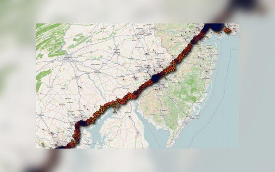 iPhone užfiksuotas kelionės tarp Vašingtono ir Niujorko žemėlapis