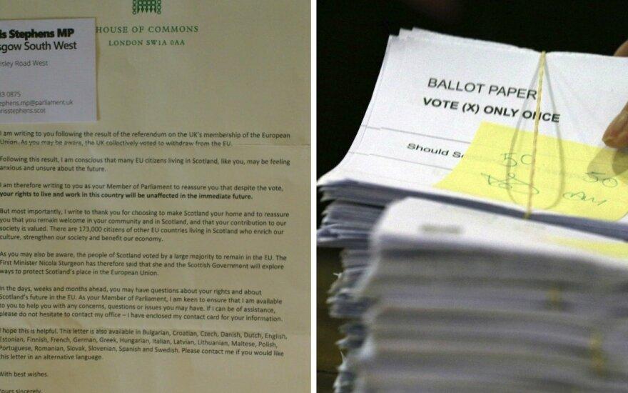 """Škotijoje gyvenantis lietuvis po """"Brexit"""" sulaukė parlamentaro laiško"""