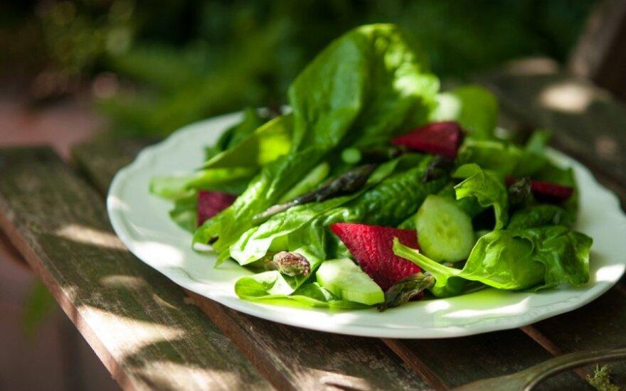 Violetinių šparagų, burokėlių ir laukinių špinatų salotos