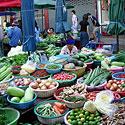 Šviežos daržovės Tailando turguje