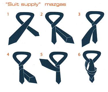 """Kaklaraiščių rišimo būdai. """"Suit supply"""" mazgas"""