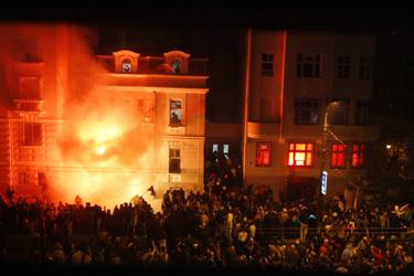 Belgrade padegta JAV ambasada