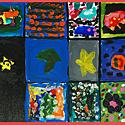 """5. Tapytojo, skulptoriaus Tado Gutausko ir vaikų iš viešosios įstaigos """"Atsigręžk į vaikus"""" darbas. Drobė, akrilas, dydis 80x80."""