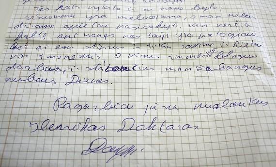 Henriko Daktaro laiškas