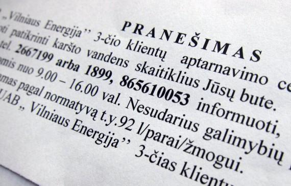 """""""Vilniaus energijos"""" pranešimas"""