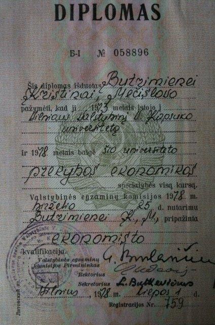 Kristinos Brazauskienės diplomas