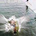 Plaukikas eketėje Kinijoje