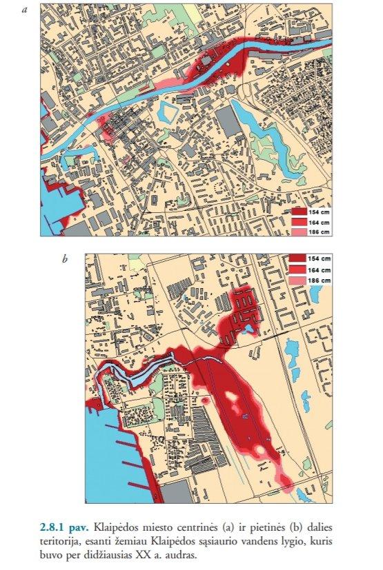 Klaipėdos miesto centrinės (a) ir pietinės (b) daliesteritorija, esanti žemiau Klaipėdos sąsiaurio vandens lygio, kuris buvo didžiausias per XX a. audras (Klimato kaita: prisitaikymas prie jos poveikio Lietuvos pajūryje)