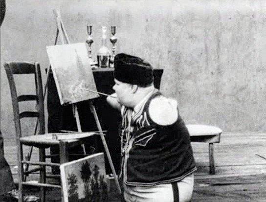 Nikolajus Kobelkovas pasirodymų metu tapydavo paveikslus ir juos sėkmingai parduodavo