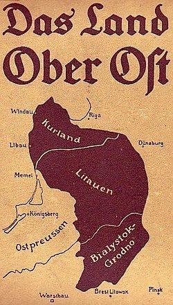 Oberosto (vok. Ober-Ost) – administracinio-teritorinio vieneto, sudaryto 1915 m. Vokietijos Rytų fronto kariuomenės okupuotose žemėse, žemėlapis