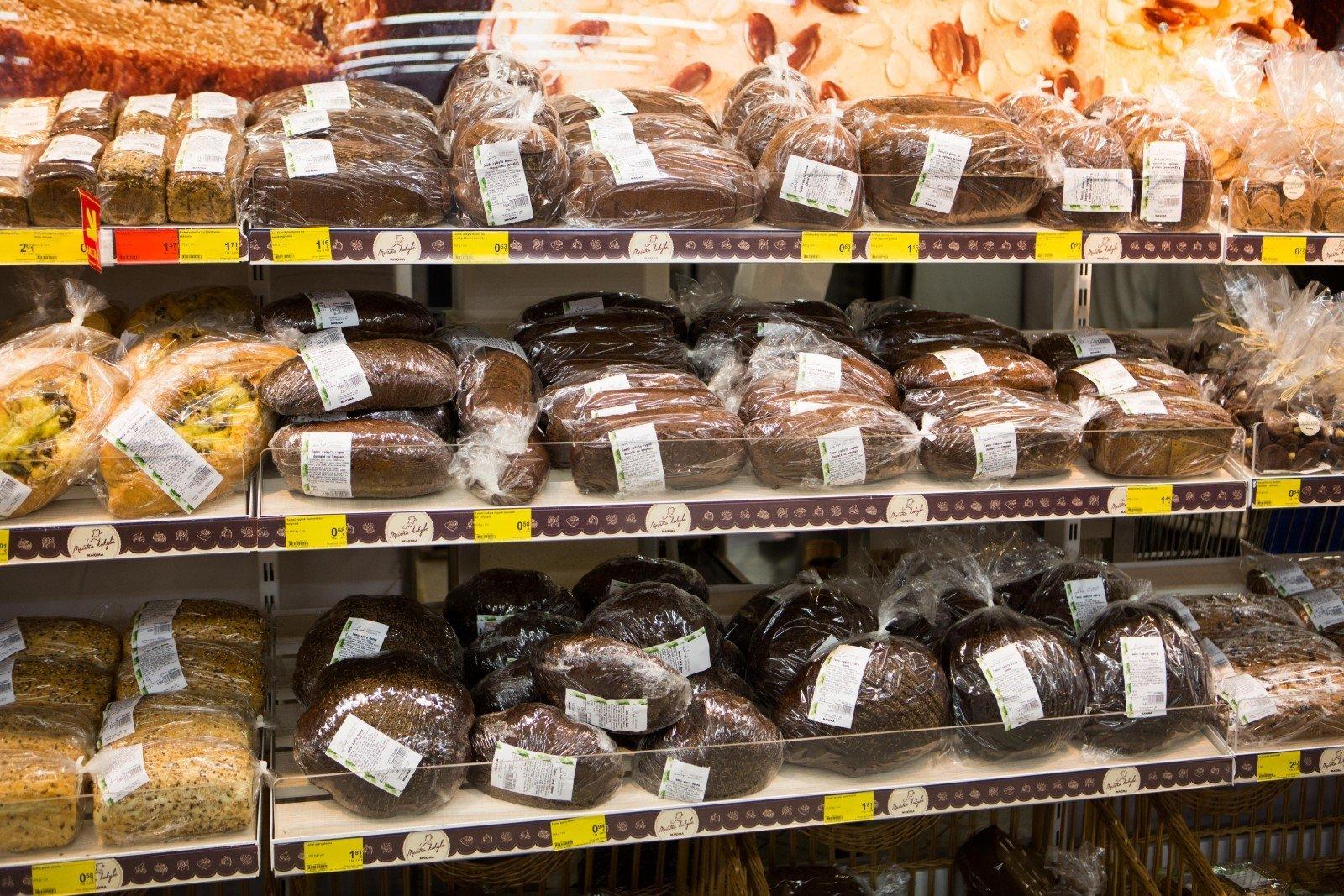 Anykšta - Tarybinės parduotuvės asortimentas: duona, silkė