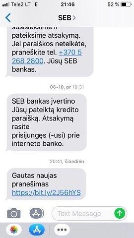 SEB sms žinutė apie gautą pranešimą