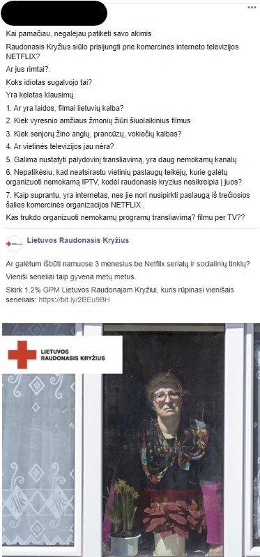 Socialiniuose tinkluose nusitaikė į Raudonąjį kryžių: apkaltino nebūtais dalykais